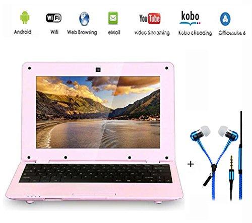 G-Anica - Netbook, computer portatile ultrabook Android 4.4, schermo da 10.2  (HDMI, Wi-Fi, Ethernet, 1.5GHz, 512MB + 4GB), con cuffie rosa Rose