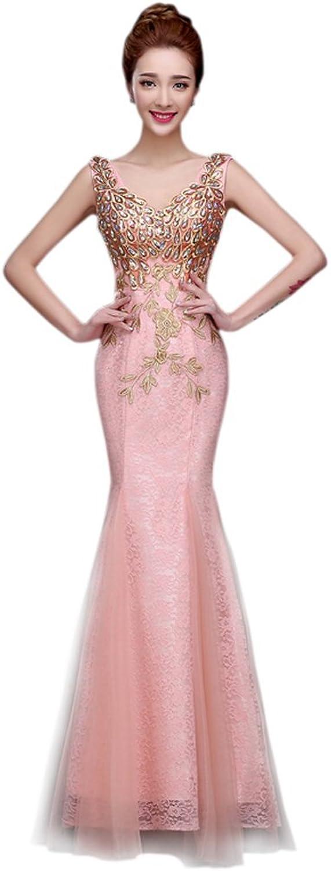 Drasawee Women Lace Mermaid Evening Bridal Dress Applique Prom Gowns PinkUS10
