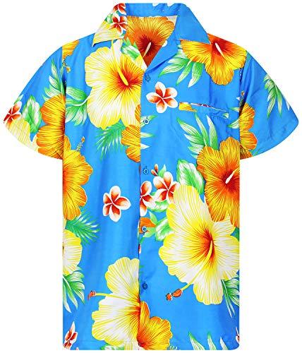 King Kameha Funky Hawaiihemd, Kurzarm, Paradise Flowers, Blau, XXL