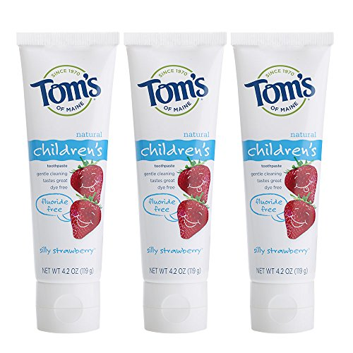 Tom's of Maine Natural Children's Fluoride-Free Toothpaste, Silly Strawberry, 4.7 oz. 3-Pack