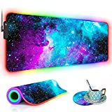 RGB Gaming Mouse Pad with Coffee Coaster, XXL Large Glowing LED Mousepad, Anti-Slip Rubber Base, Computer Keyboard Desk Mouse Mat 31.5 X 11.8 Inch - Blue Galaxy Nebula Universe Space