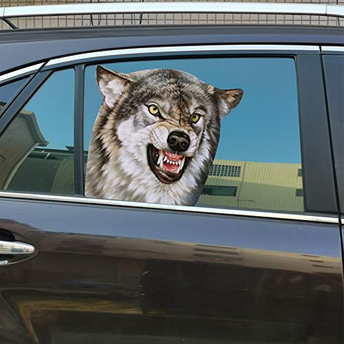 Senksll Wolf Car Window Cling Funny Car Sticker Window Decal for Vehicles Automotive Stickers(for...