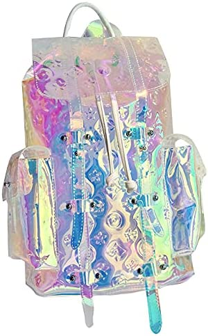 National uniform free shipping Colorful Transparent Popularity Laser Backpack Trendy Travel Clear Rainbow