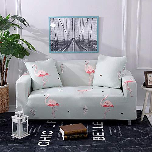 HTEZGDB-Antideslizante Protector Cubierta de Muebles,Funda de Sofá Elastica,Ajustables Fundas Decorativa para Sofá(2 Seater:145-185cm,Flamingo,Celeste)