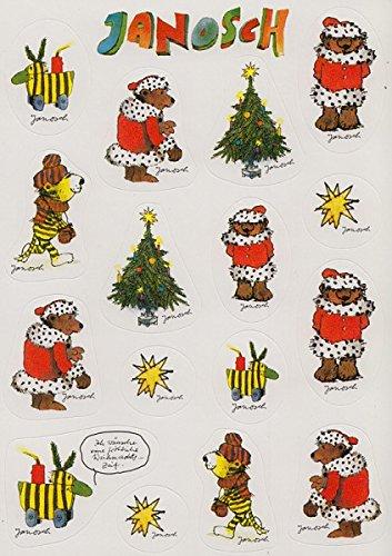 Janosch Sticker Postkarte Tiger, Bär und Tigerente in Weihnachtsstimmung