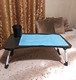 Laptop Folding Tray, Wooden Lap Desk for Adults and Kids - with Leg Room Space for Eating, Working, Activities - Includes Black Plastic Cup with Lid, Eating Placemat, Cup Holder, and Tablet Slot
