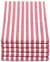 zollner set di 5 strofinacci a righe rosse e bianche, 50x70 cm, altri colori