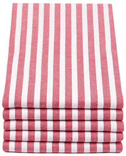ZOLLNER 5er Set Geschirrtücher gestreift, 50x70 cm, rot weiß gestreift
