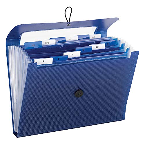 Smead 70907 Step Index Poly Organizer 12 Pockets Flap and Cord Closure Letter Size Navy Blue 2 per Pack