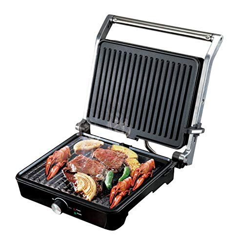 MEYLEE Panini Press Grill Sandwichera para Parrilla Interior, Abre 180 Grados, con Control de Temperatura, Bandeja de Goteo extraíble, 1400 W