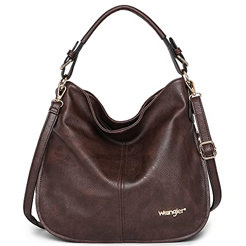 Wrangler by Montana West Leather Tote Hobo Shoulder Bag for Women Large Top Handle Hangbag