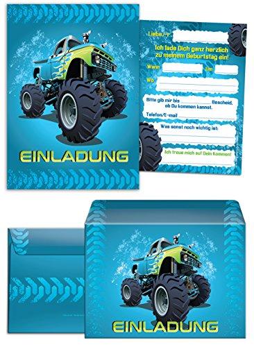 12 Einladungskarten zum Kindergeburtstag Monstertruck blau incl. 12 Umschläge / Monster-Truck / Auto / Einladungen zum Geburtstag für Jungen (12 Karten + 12 Umschläge)
