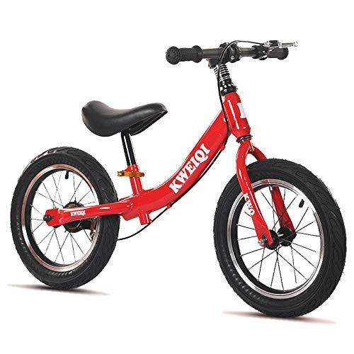 Utron Bicicleta de Equilibrio, Ruedas de 14 Pulgadas, Bicicleta de Entrenamiento para niños pequeños con Asiento y Freno Ajustables, para niños de 3 a 7 años, niñas,Red