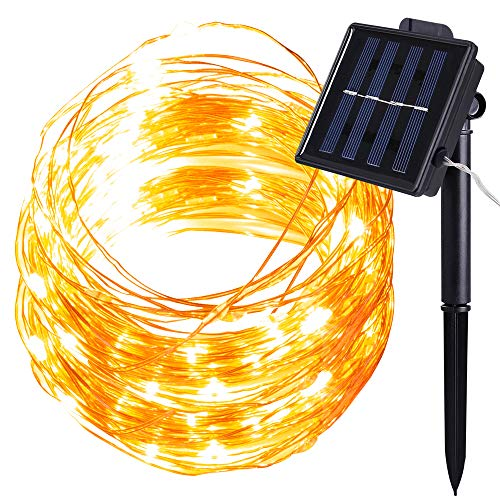 100 LED Solar Lichterkette, MMTX Party Dekorative Aussen Lichterketten außn Warmweiß 8 Modi 32ft / 10M Gartenleuchte Weihnachtsbeleuchtung für Weihnachten, Halloween, Hochzeit Party Dekoration