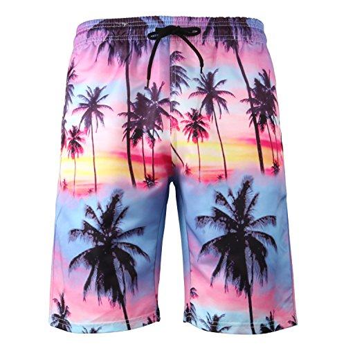 Ducomi Ray Badehose für Herren - Doppeltasche Schwimm und Poolshorts - Elastische und Schnell Trocknende Shorts für Die Innere Netzhaut. Boxer zum Beachvolleyball, Strand und Surfen (Purple, XL)