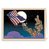 Patriotic Santa Christmas Card 18 Cards & Envelopes