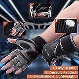 Grebarley Fitness Handschuhe,Trainingshandschuhe,Gewichthebehandschuhe für Krafttraining,Bodybuilding,Sporthandschuhe für Damen und Herren(Schwarz, M) - 5