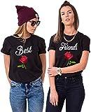 Best Friends Camisetas para 2 niñas Sister Camisetas para dos con Rosa BFF Camiseta Negro Mujer Top Algodón Verano Top 1 pieza Color negro. M