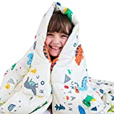 Luna Kids Weighted Blanket - Individual Use - 10 Lbs - 41x60 - Twin Size Bed - 100% Oeko-Tex Cooling Cotton & Glass Beads - USA Designed - Heavy Cool Weight - White Dinosaur