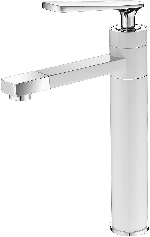 Bathroom Sink Tap Free redation 360 Degree Swivel Spout Single Handle One Hole Mount Painting White Lavatory Leekayer
