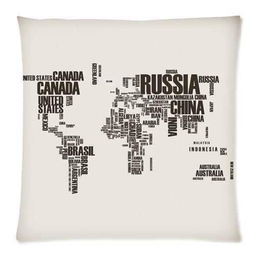 Cushion Case Home décoratifs personnalisés les mots carte du monde à fermeture Éclair carré Couvre-lit Taie d'oreiller Housse de coussin 18 x 18 (Twin sides)