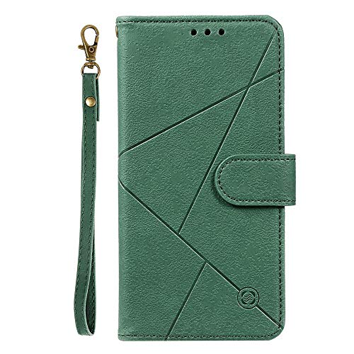 JZ Pure Color Geometry Design Wallet Funda Compatible with iPhone 8 Plus / 7 Plus PU Leather Flip Cover - Green