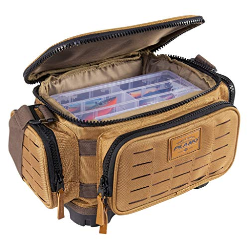 Plano Guide Series Tackle Bag | Premium Tackle Storage with No Slip Base and Included stows, Khaki with Brown and Black Trim, 3500 (PLABG350)