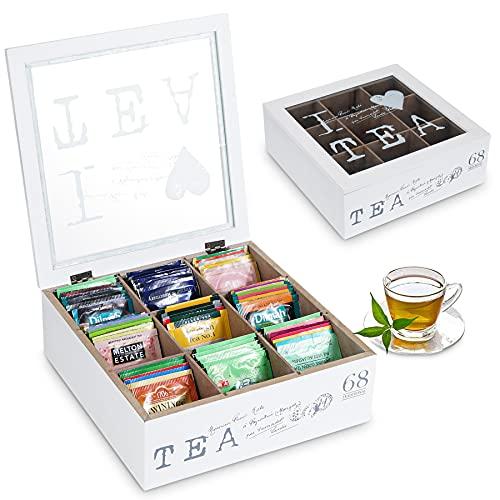 QILICZ Teebox, Tee Aufbewahrungsbox aus Holz mit 9 Trennfächern - Teebeutelbox Teekiste für Teebeutel Zucker Kaffeekapsel, Weiß Vintage Vorratsdose mit Glas Sichtfenster Deckel