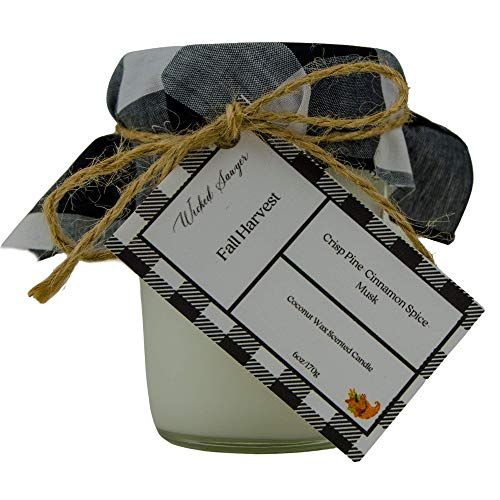 Fall Harvest Fall Scented Candle, Mason Jar Coconut Wax Candles, Crisp Pine, Cinnamon Spice, And Rich Tonka Bean,Hand Poured In USA, Highly Scented And Long Lasting 6oz