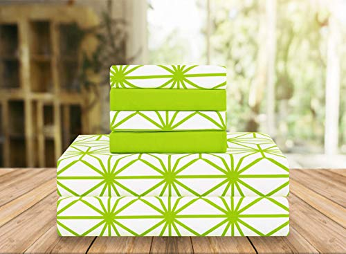 Elegant Comfort Luxury Soft Bed Sheets Cube Pattern 1500 Thread Count Percale Egyptian Quality Softness Wrinkle and Fade Resistant (6-Piece) Bedding Set, Queen, Lime Green, ZMM-6PC-Cube-Queen-Lime