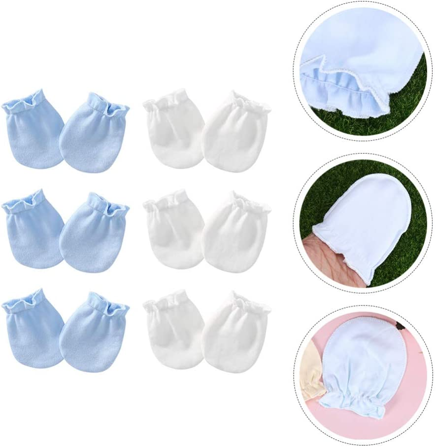 Amosfun 6 Pair Baby Cotton Gloves Infant Newborn Anti Scratch Mittens Newborn Soothing Gloves for Baby Infant Boys Girls Assorted Color