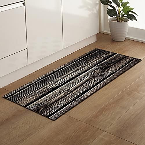 OPLJ Alfombrillas de Cocina con patrón de Grano de Madera Impresas en 3D, alfombras de Puerta de Entrada de Pasillo de Sala de Estar,...