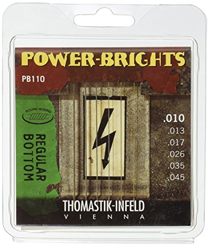 Thomastik 677027 Saiten für E-Gitarre Power Brights Series Regular Bottom, Satz PB110 Medium Light .010-.045w