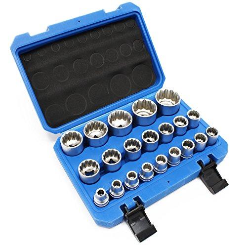 """Juego 21 llaves de vaso estriadas 1/2\"""" (12,7mm) 8-36mm carraca llave torsión manual herramientas"""