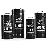 """Barnyard Designs Decorative Nesting Kitchen Canister Jars with Lids, Mint Metal Rustic Vintage Farmhouse Container Decor for Flour Sugar Coffee Tea Storage, Set of 4, Largest is 5.5"""" x 11.25"""""""