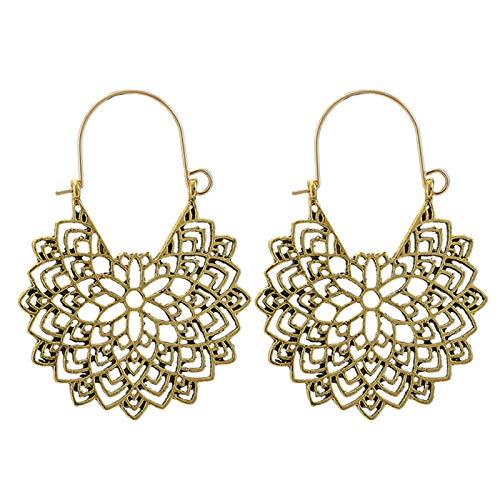 Ruby569y - Pendientes de aro para mujer, diseño geométrico, estilo bohemio, para mujer, joyería de moda, accesorio de regalo – 9027, dorado
