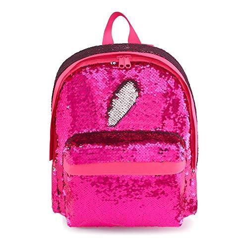 Small Mermaid Backpack for Girls Kids Magic Sequins Glitter Kindergarten Back Pack Sparkly Hot Pink