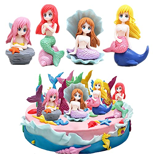 smileh Decoración para Tartas Figures Sirena Cumpleaños Adorno para Tarta Decoración de Pastel Topper Sirena Figuras Pequeñas de Juguetes para Niños Suministros Decoraciones de Fiesta