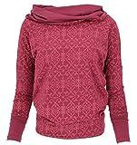 Guru-Shop Camiseta de manga larga estilo bohemio con capucha para mujer, de algodón, de manga larga y sudaderas alternativas Paprika L