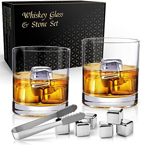 Whiskey Glass, veecom Whiskey Glasses Set of 2 with 6 Whiskey Stones, 9 oz Old Fashioned Scotch Whiskey Glass Stone Gift Set for Men, Heavy Rocks Glasses Chilling Whiskey Rocks for Bourbon, Cocktail