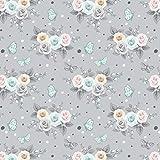 100x160cm 100% Baumwolle Baumwollstoff Streifen Blumen