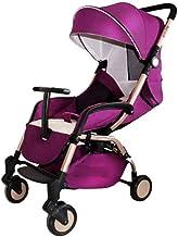WRJY Cochecito para niños, Carro para niños Hot Mom con Combo, Silla de Paseo Plegable Delgada, marrón (Color: púrpura)