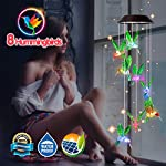 Dekopia Solar Wind Chimes 8 Hummingbird Outdoor Decor Color Changing Light Sensor Solar Power eco Friendly Easy to use… 2