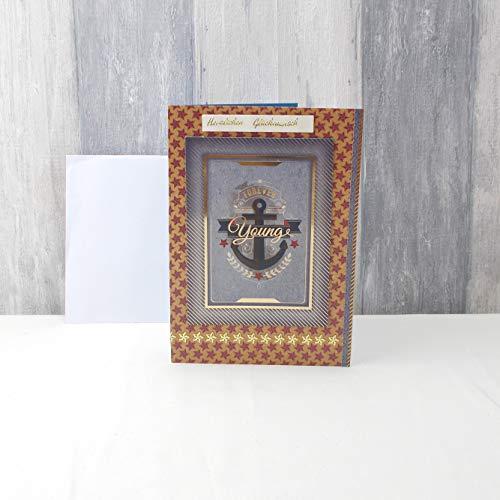 Glückwunschkarte, Grußkarte, Geburtstag, maritim, Anker, Din A5, N22, 15 x 21cm
