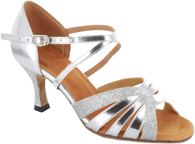 TDA Women's Fashion Ankle Wrap Glitter Salsa Tango Ballroom Latin Strappy Dance Sandals