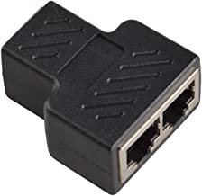 NEORTX RJ45 Splitter Adapter, RJ45 Female 1 to 2 Port Female Socket Adapter Interface Ethernet Cable 8P8C Extender Plug LAN Network Connector for Cat5, Cat5e, Cat6, Cat7