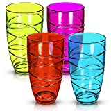 Set of 4 Clear Hi Ball Plastic Acrylic Drink Tumblers with Swirl Design - Stackable Glasses Great for Picnics, BBQ's, Poolside, Camping, Children's Parties or Just Everyday Use (Colour)