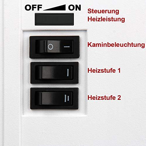 Elektro-Kamin mit Heizung und Kaminfeuer-Effekt weiß - 8