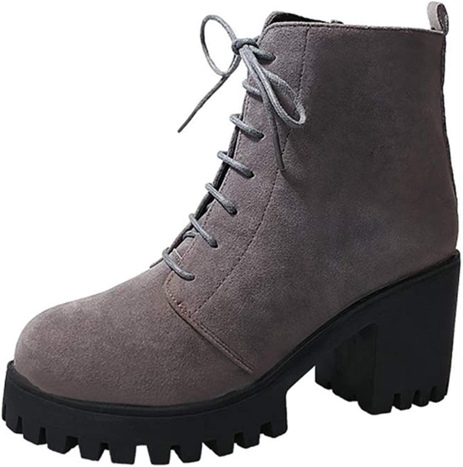 FORTUN Vintage Martin Boots Women's Lace Up Booties Ankle Boots High Heels
