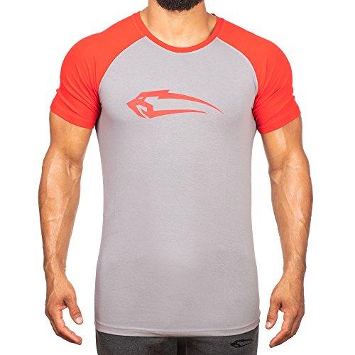 SMILODOX Slim Fit T-Shirt Herren '4.0' | Kurzarm | Casual Top | Funktionsshirt für Sport Fitness Gym & Training | Trainingsshirt - Laufshirt - Sportshirt mit Logo, Farbe:Grau/Rot, Größe:M